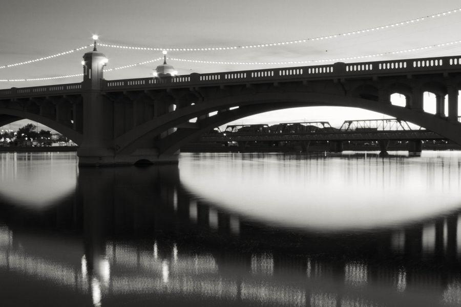 Evening reflection Blackandwhite Bridge Reflection Tempe Town Lake Water First Eyeem Photo