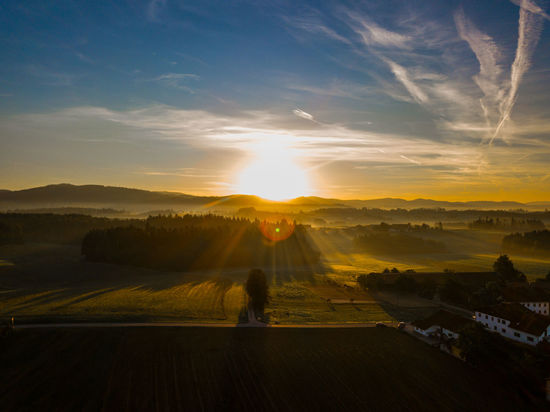 Büchlberg Bavaria Bavarian Landscape Bayern Germany No People No Person Sunrise Sunrise_sunsets_aroundworld Sunrise_Collection Sunrays Sunrise And Clouds Sun Sunlight Sunrise - Dawn Sunrise Colors In The Morning Drone  Dronephotography Drone Moments Tree Mountain Dawn Fog Gold Colored Sunlight Beauty Summer Autumn Patchwork Landscape