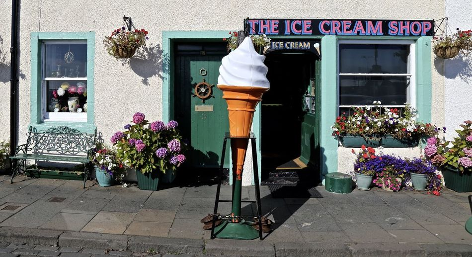 Ice Cream Shop. Pittenweem, Scotland. Building Exterior Built Structure Entrance Flower House Outdoors Shopping Specialist Shop