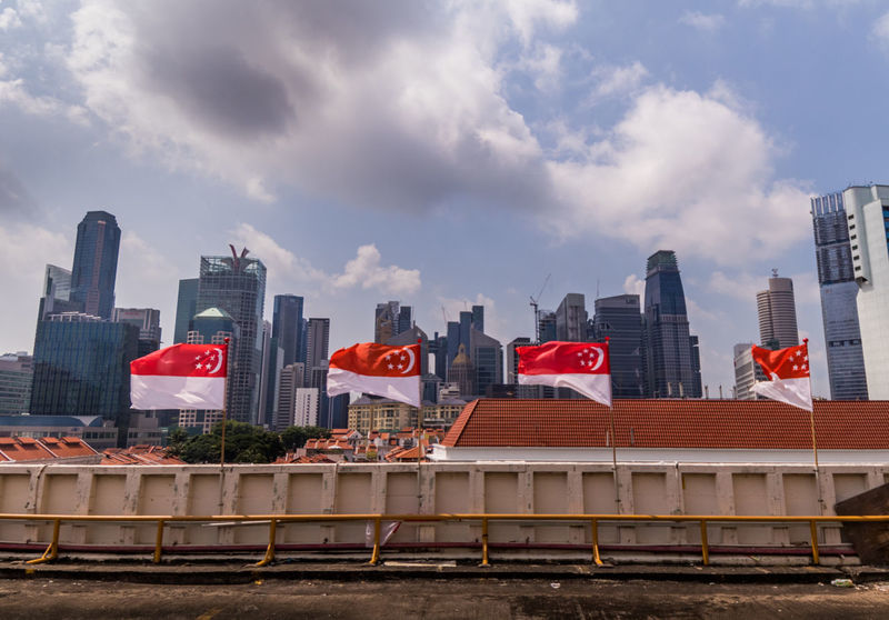 Architecture City Cityscape Event Lines National Day Occasion Red Flag Singapore Singapore Flag Sky Urban