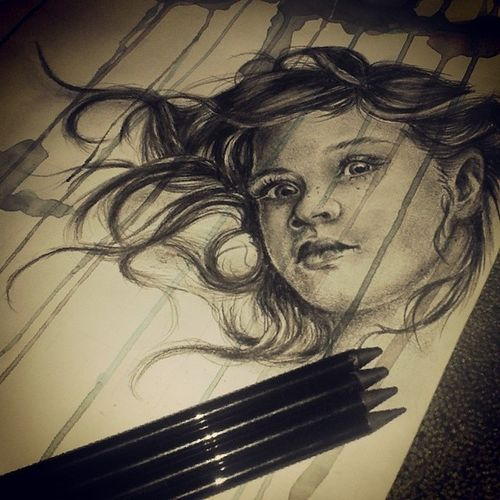 Girl drawing Drawing Pencil Graphite Observational ink girl sad art alevelartstudent shade nawden iheart_art_contest art_support skrien the_art_display mikedoodle