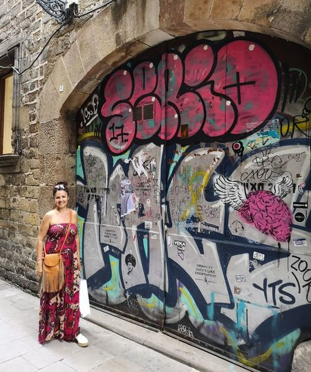 Barcelona Me Full Length Multi Colored Women Graffiti Architecture Street Art Spray Paint