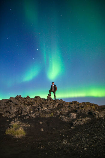 Standing on your bucket list like... Night Outdoors Star - Space Travel Nature Astronomy Beauty In Nature A7RII Showcase: October Get Out Stay Out Stray Today Travel Iceland Travel Photography Aurora Aurora Borealis Northern Lights Self Portrait My Year My View Be. Ready.