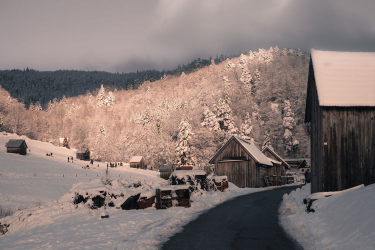 Road leading to snow covered houses by trees against mountain anf sky during winter