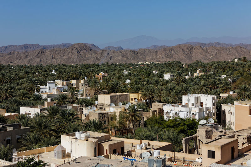 High angle view of buildings and palm trees with mountains against sky