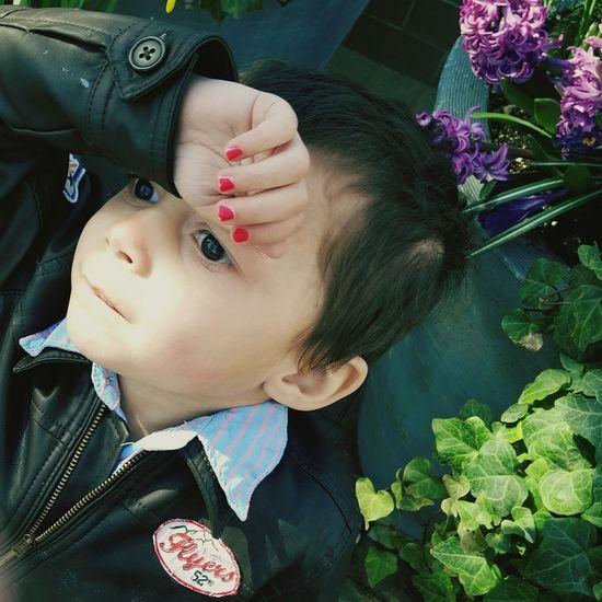 Headshot Portrait Real People Close-up Nature Drama Babyboy Nail Polish Lightplay Leisure Activity