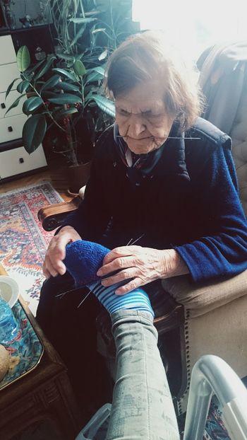 Grandma New Socks Winter Preparations Leg I Love Her <3