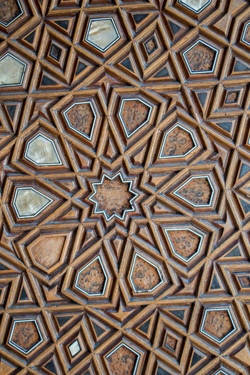 Ottoman Turkish art with geometric patterns on wood Art On Wood Ottoman Empire Backgrounds Close-up Day Design Full Frame Geometric Patterns In Nature Indoors  No People Pattern Seamless Pattern Textured  Turkish Coffee
