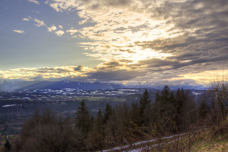 view from Peißenberg Beauty In Nature Cloud - Sky Day Landscape Mountain Nature No People Outdoors Range Scenics Sky Sunset Tranquil Scene Tranquility Tree