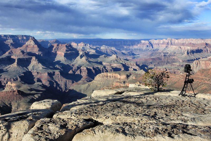 Camera at grand canyon national park against sky