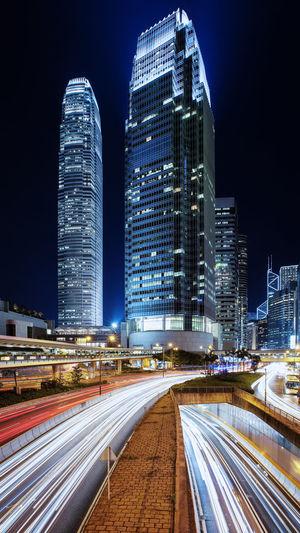 Building Building Exterior Hong Kong Hong Kong Building Hong Kong City Hong Kong Island IFC Light Lightrails Night Outdoors First Eyeem Photo