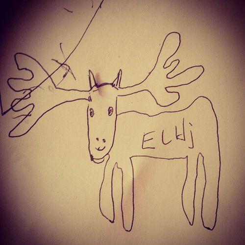 Når pappa må tegne elg. Eller elhj som k sier. Elg Moose Tegning Barnestrek drawing riss dyr child daddy animal nature naturen tegne strek elk utinaturen cool instadraw
