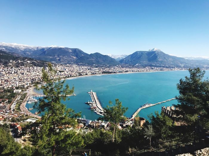 View of Alanya from mountain Alanya Turkey City Mountain Water Sky Scenics - Nature Beauty In Nature Day Nature Plant Mountain Range Tree Tranquil Scene Tranquility Clear Sky No People Blue Outdoors Copy Space Sea