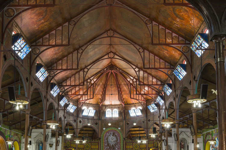 Cathedral Basilica of the Immaculate Conception, Derek Walcott Square, Castries, Saint Lucia Arch Architecture Built Structure Ceiling Day Illuminated Indoors  Low Angle View No People Place Of Worship Religion Spirituality