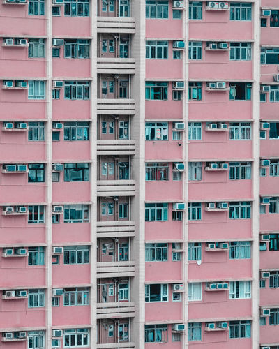 City of Colors HK Building Exterior Architecture Built Structure Window Full Frame Residential District Building Day Apartment City No People Backgrounds In A Row Outdoors Pattern Nature City Life Balcony Low Angle View Side By Side Pink Color Pink Pink Building Hong Kong HongKong Hk