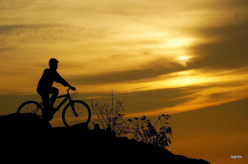 Cyclists Silhouette Sunset Skyporn