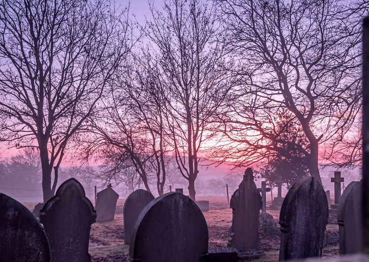 Panoramic shot of cemetery against sky during winter