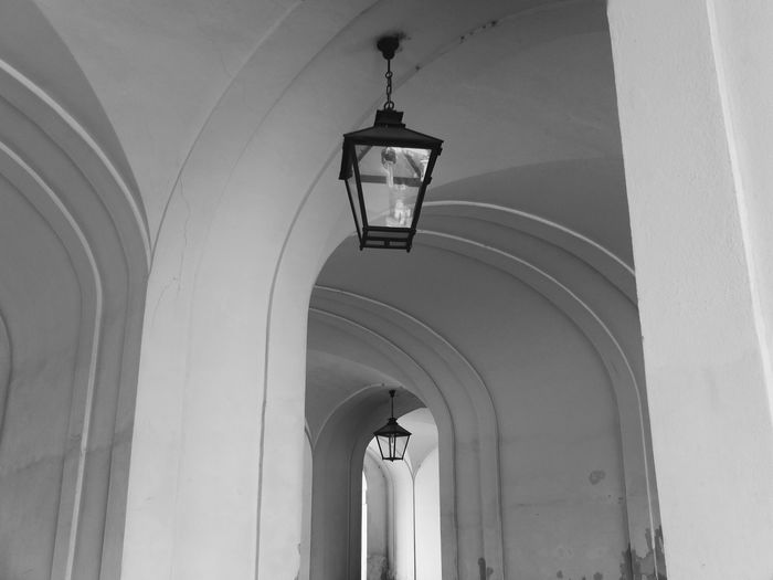 Low Angle View Of Antique Lantern On Ceiling