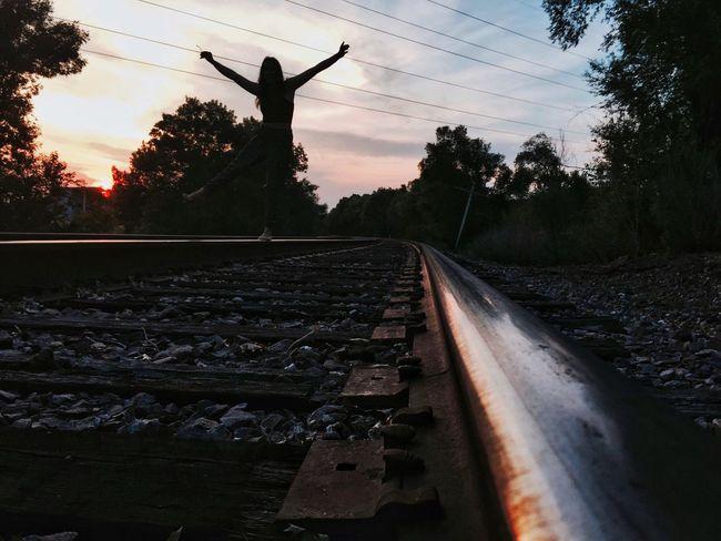 Capturing Freedom Love Enjoying Life Silhouette Freedom Sunset Silhouettes Sunset Bridge Traintracks Eauclaire