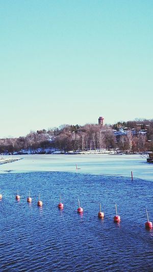Blue Sky Clear Sky Water Day Floating On Water Nature Boattour Iceywaters Frozen Sweden Stockholm