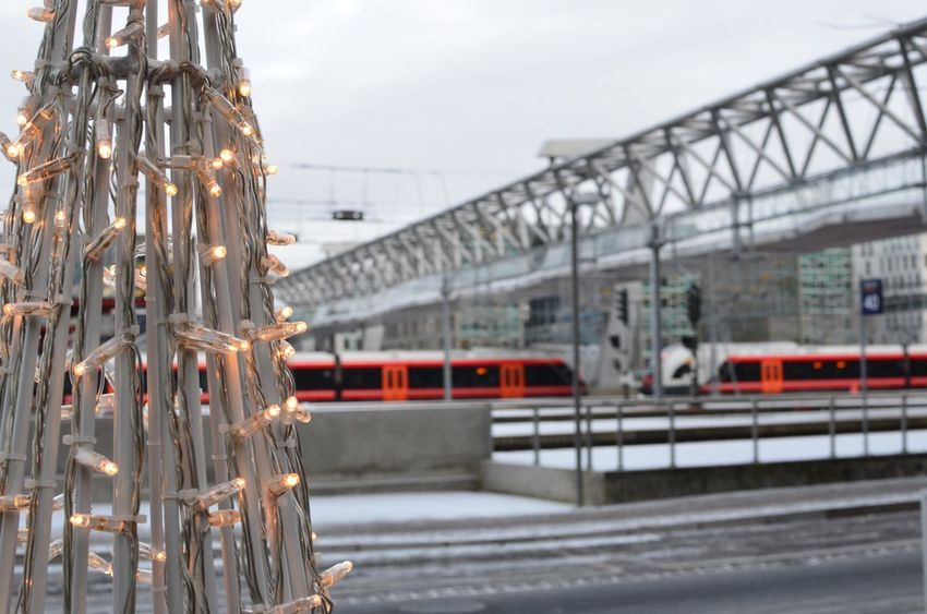 Christmaslights Transportation Train - Vehicle Mode Of Transport Public Transportation Bridge - Man Made Structure Rail Transportation Land Vehicle Outdoors No People City
