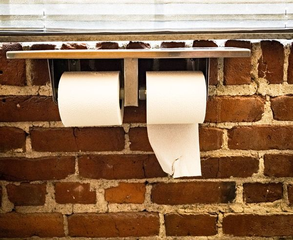 Toilet Paper Brick Wall White Color No People Day Hygiene Architecture Indoors  Close-up