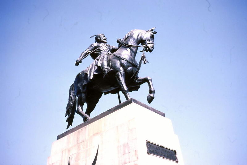 Bronze Statue outside The Jaj Mahal Hotel, Mumbai Composition India Mumbai Statue Warrior Animal Representation Animal Themes Blue Sky Bombay Bronze Sculpture Bronze Statue Capital City Clear Sky Famous Person Looking Up Low Angle View Male Representation Man On Horseback No People Outdoor Photography Plinth Riding High Sculpture Sunlight