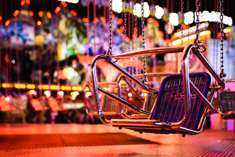 Close-up of illuminated carousel