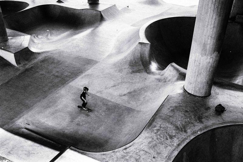 High angle view of man skateboarding
