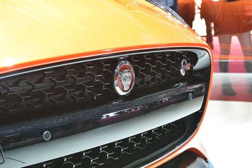 British Car Car Car Grille Close-up Indoors  JAGUAR Jaguar F-Type Jaguar F-Type SVR Orange Color Paris International Motor Show 2016