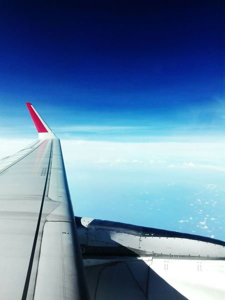 Blue Airplane Sky Day Beauty In Nature No People EyeEm Blessed  AirAsiaMalaysia Travel Kotakinabalu