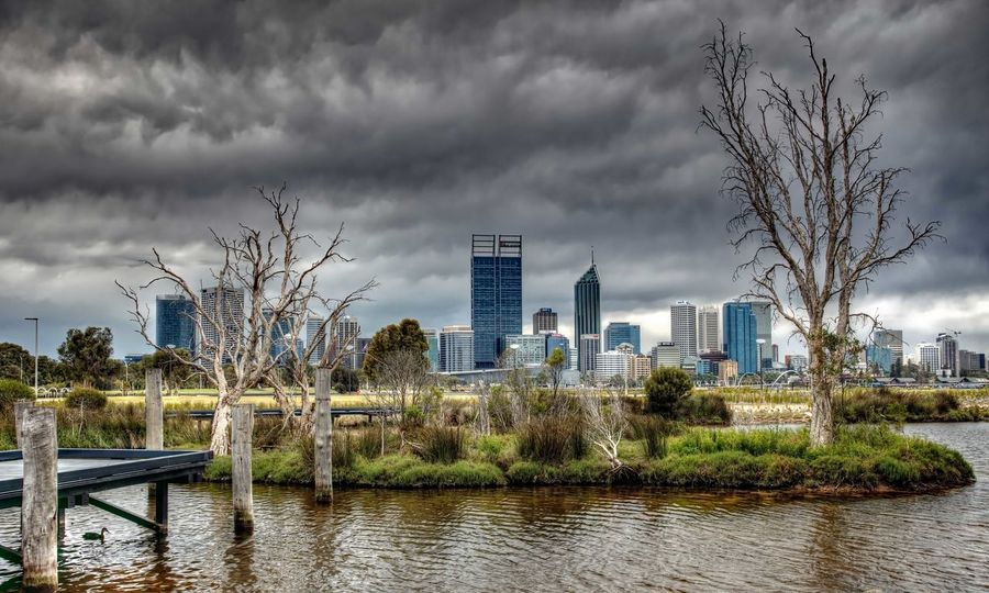 The Pond... City Cityscape Cloudy Sky Perth Australia Pond Water Swan River Trees And Sky Waterfront