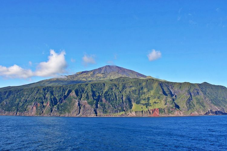 Mountain Scenics - Nature Sky Water Cloud - Sky No People Tranquil Scene Tranquility Volcano Travel Destinations Landscape Mountain Range Outdoors View Into Land Mountain Peak Volcanic Crater Nature Land Sea Land Ahead Island Ahead Tristan Da Cunha Tristan Da Cunha Island