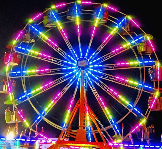 Illuminated Ferris Wheel Nightlife Outdoors Reflection Motion Small Town Feel