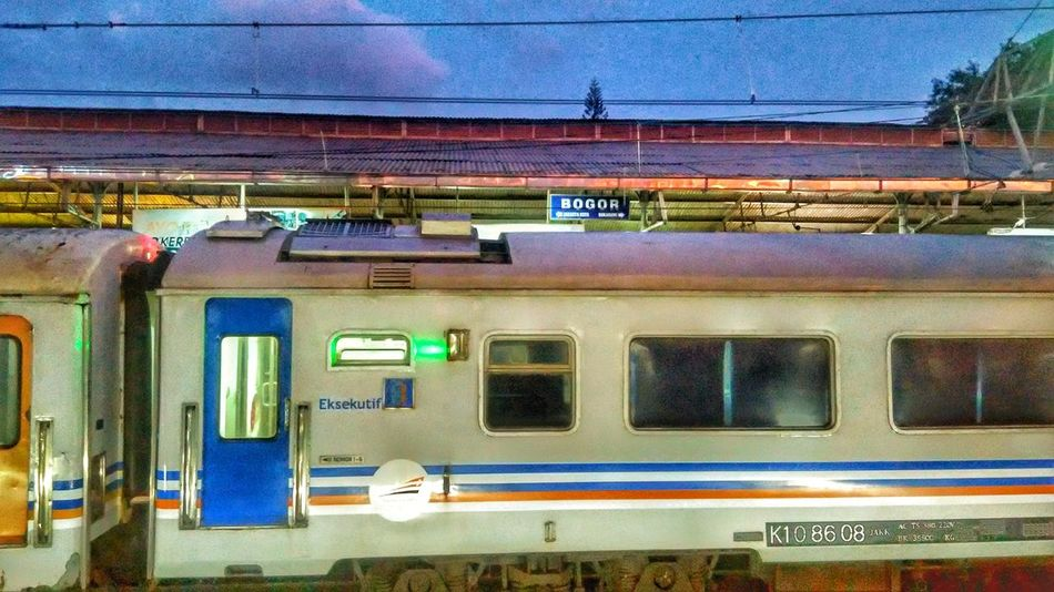 Places Around The World Miles Away Peaceful View Peace And Quiet Trains_worldwide Train Track Trainphotography Evening Sunset Evening Photography Evening Mood Evening Lights Bogor Train Station Bogor, Indonesia