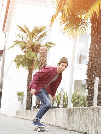 Flare Hipster Man Palms Skateboarding Skateoboard Skater Sunset