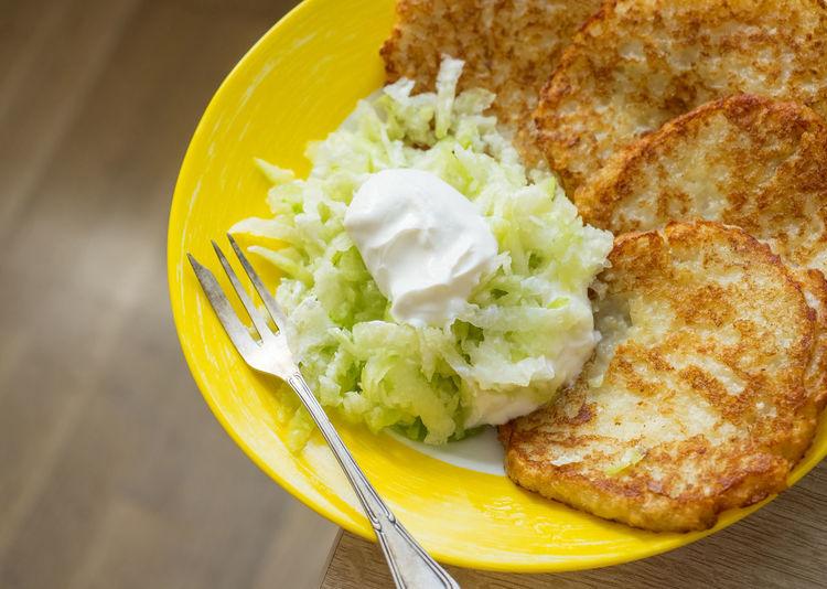 Green radish salad and potato pancakes
