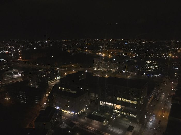 Malmö from the 28th floor of Turning Turso😍 Skåne Malmö By Night Malmöbynight Shot On IPhone 6s ShotoniPhone6s City By Night Citybynight Malmö Turning Torso Turningtorso Night Illuminated Cityscape City Architecture Building Exterior No People