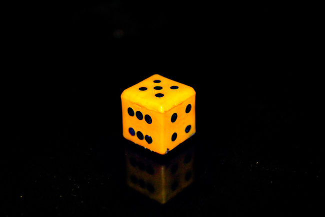 Gambling Luck Black Background Indoors  Yellow Leisure Games No People Chance Close-up Dice Yellow And Black 3D Photo