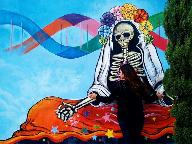 TakeoverContrast Art Human Representation Art And Craft Mural Full Frame Colorful Outdoors Creativity Multi Colored Streetart Streetphotography Dayofthedead Death Contrast Colorfull Beauty