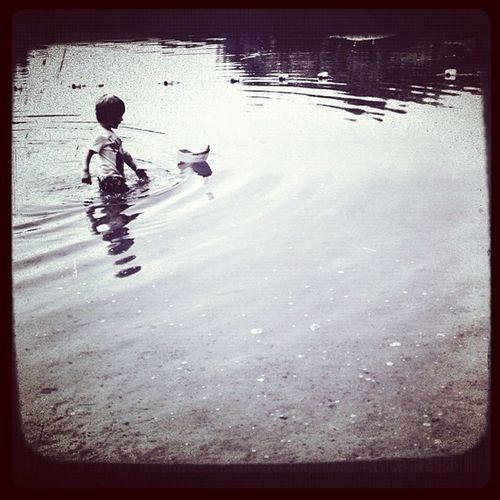 Jj  Jj_forum_0473 Blackandwhite Toddler  boy water boat solitude playing lake photooftheday picoftheday insta_bw instamood instagood followme upstateny