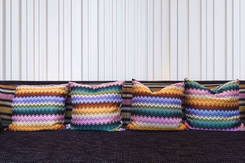 Surface Empty Seats Patterns & Textures Still Life Photography Design Cushions  Cushion Sofa Textile Multi Colored Indoors  Pattern No People Choice Variation Curtain Furniture Clothing Still Life Side By Side Floral Pattern Striped Arrangement