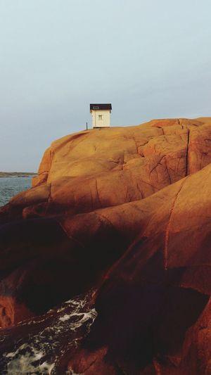Little lighthouse Lighthouse Cliffside Sea And Sky Sun Setting Lysekil