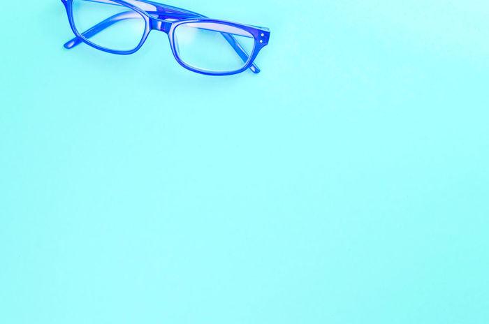 colors and shapes - blue frame eyeglasses Empty Space Objects Blue Close-up Colors And Shapes Copy Space Day Eyeglasses  Eyesight Indoors  Minimal Minimalism No People Shapes And Patterns  Simple Object Studio Shot White Background