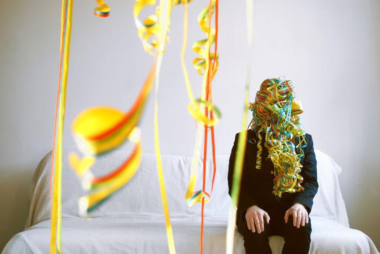 Geburtstag Luftschlangen Bunt Feiern Karneval Kopf Masked Party