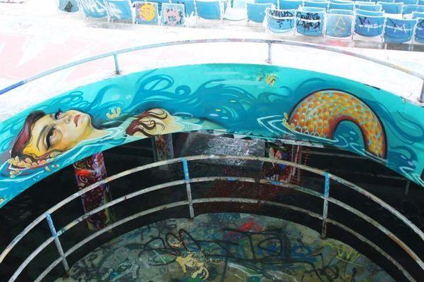 Chill mermaid art. . . .(Abandoned Miami Marine Stadium Key Biscayne, FL)