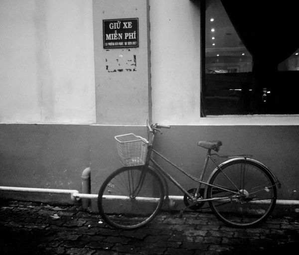 Transportation Bicycle Mode Of Transport Land Vehicle Stationary Built Structure Architecture City Parking Pole Communication Building Exterior Parked Day Outdoors Cycle Hcmcity Hcmc Vietnam Blackandwhite Black And White CyclingUnites