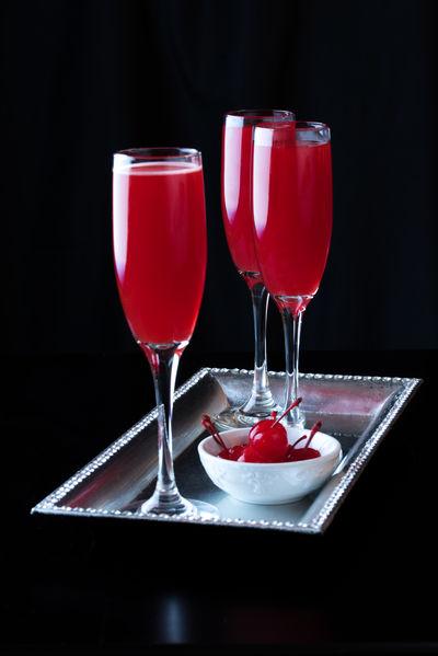 Maraschino Cherry Bellini Adult Alcoholic Beverar Cherry Classy Cocktail Cocktails Drink Drinking Flute Libation Maraschino Night Cap Nightcap Red Red Bellini Sophisticated Stemware Tropical Drink