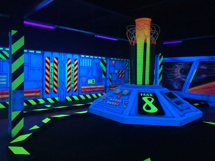 Crazy golf UV Paint UV Light UV  Mini Golf Crazy Golf Golf Illuminated Night No People Blue Multi Colored Architecture Built Structure Indoors  Neon Lighting Equipment Arts Culture And Entertainment Text Green Color Western Script Architectural Column Nightlife