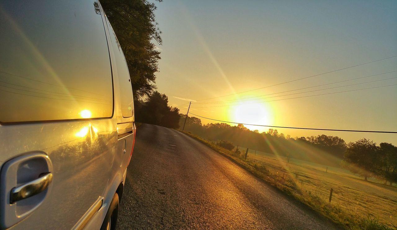 transportation, sunset, sun, lens flare, road, sunbeam, sunlight, tree, no people, travel, journey, car, mode of transport, sky, land vehicle, outdoors, nature, day